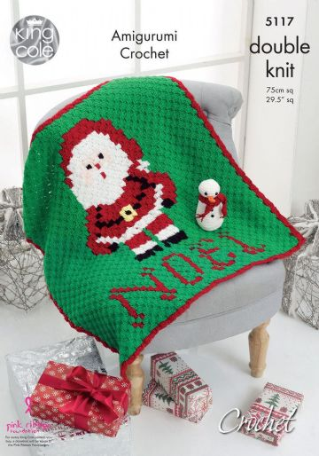 King Cole  Christmas Blanket & Amigurumi Snowman Crochet Pattern  5117